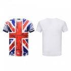 3D Stereo Printed British Flag Pattern Men's Short Sleeve T-Shirt (M)