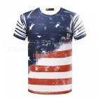 3D Stereo Printed American Flag Pattern Men's Short Sleeve T-Shirt (M)
