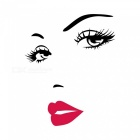 Buy Removable DIY 3D Beauty Red Lips Decorated Wall Sticker - Black