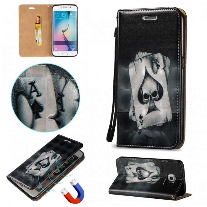 BLCR Poker Pattern Magnetic Case For Samsung Galaxy S6 EdgeLeather Cases<br>Form  ColorBlack + MulticolorModelN/AMaterialPU + TPUQuantity1 DX.PCM.Model.AttributeModel.UnitShade Of ColorBlackCompatible ModelsSamsung Galaxy S6 EdgeFeaturesAnti-slip,Shock-proof,Abrasion resistance,Holder functionOther FeaturesCard Slots, Magnetic ClosurePacking List1 x Case1 x Strap<br>