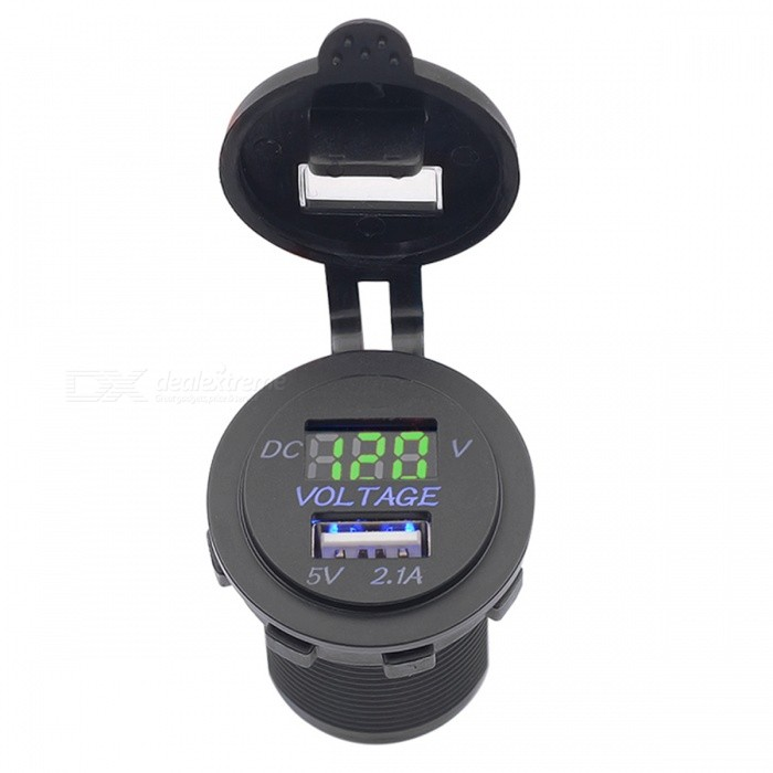 dc 5v 2 1a doppel usb auto aufladeeinheit mit gr nem digital voltmeter schwarzes kostenlose. Black Bedroom Furniture Sets. Home Design Ideas