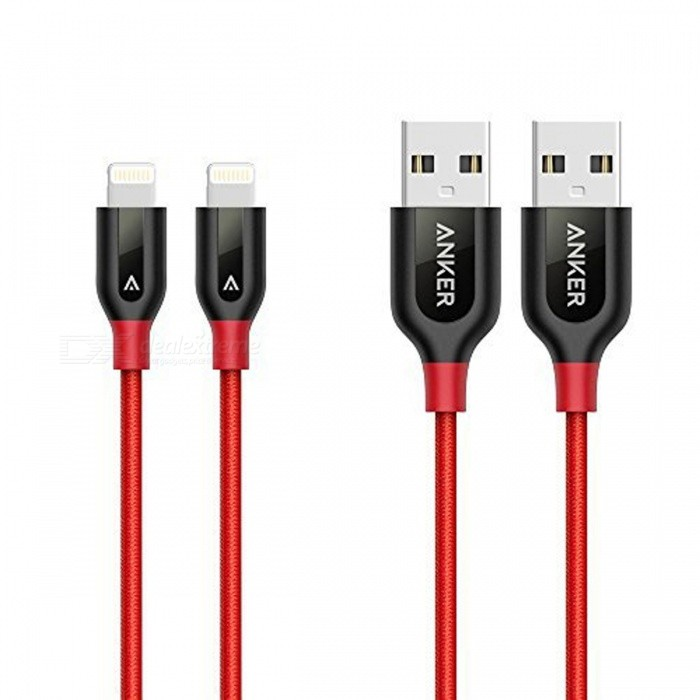 Anker PowerLine+ MFi Lightning to USB Cables - Red (2 PCS / 3ft)Cables<br>Form  ColorRed (2 PCS)ModelA8121691Quantity2 setMaterialNylonCompatible ModelsOthers,iPhone, iPad, iPodFunctionCharging,Data syncConnectorUSB,Apple 8pin LightningCable Length90 cmCertificationMFI made for IPHONE, made for IPOD, made for IPADPacking List2 x Cables (3ft.)<br>