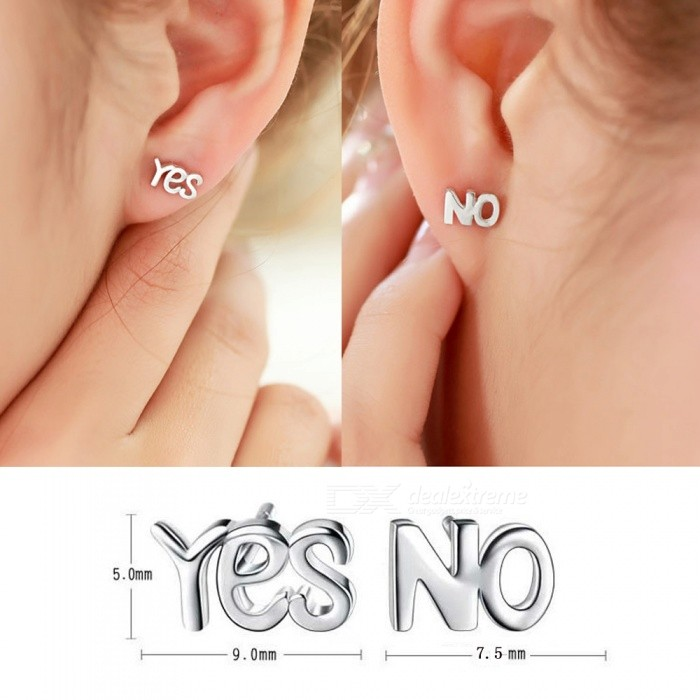 Silver Plated Yes/No Letter Simple Asymmetric Stud Earrings (1 Pair)