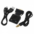 BSTUO VGA to HDMI Converter Adapter w/ 3.5mm + USB Power Ports - Black