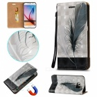 BLCR Feathers Pattern Magnetic PU Case For Samsung Galaxy S6