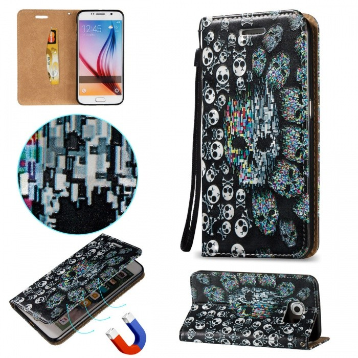 BLCR  Skull Pattern Magnetic PU Case for Samsung Galaxy S6