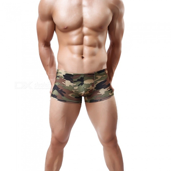 Milk Silk Relaxed Mens Lingerie Boxer Shorts - Green Camouflage (M)Underwear<br>Form ColorArmy Green CamouflageSizeMQuantity1 setShade Of ColorGreenMaterialMilk silkStyleFashionWaist Girth70~90 cmTotal Length21 cmSuitable for Height165~175 cmPacking List1 x Underwear<br>