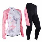 NUCKILY Outdoor Cycling Long-sleeve Jersey + Long Pants - Pink (XL)