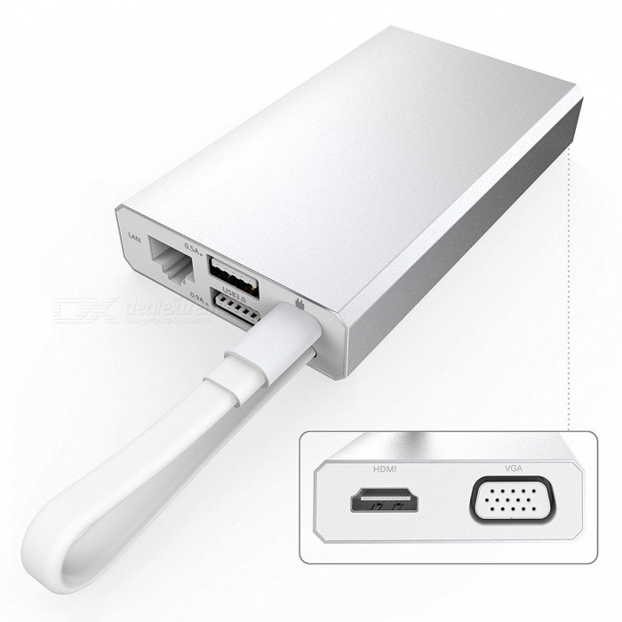 GTcoupe Type-C Adapter to HDMI / VGA / Ethernet / 2 USB3.0 - Silver