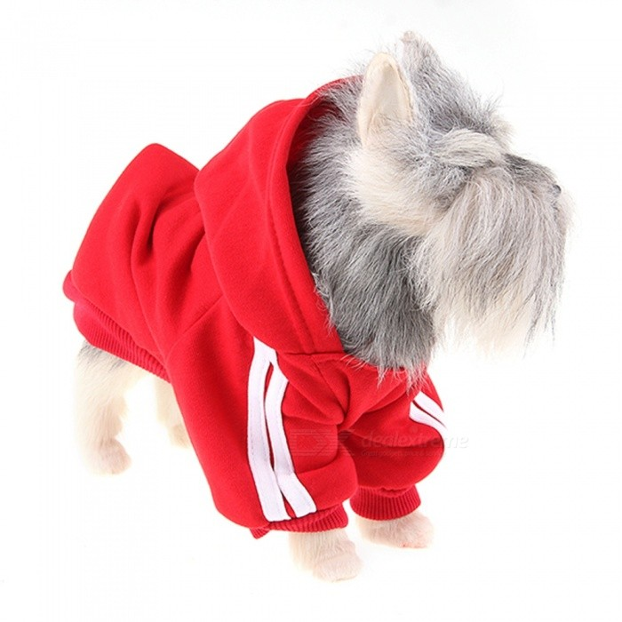 Pet Dog Puppy Hoodie Pullover Sweater Sweatshirt Vêtements - Rouge (L)