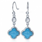 SILVERAGE 925 Sterling Silver Blue Opal Four Leaf Clover Earrings