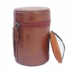 Ismartdigi PU Leather Camera Lens Case Bag for All DSLR Lens - Coffee