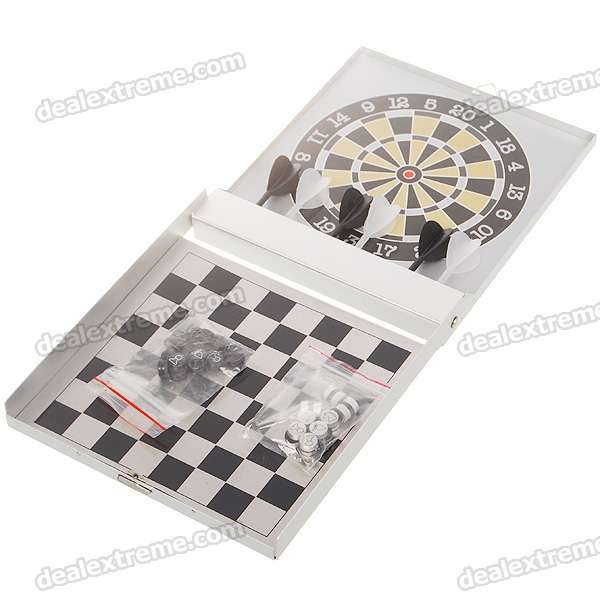 Portable 2-in-1 Chess + Magnetic Dart Game Set in Aluminum Alloy Box