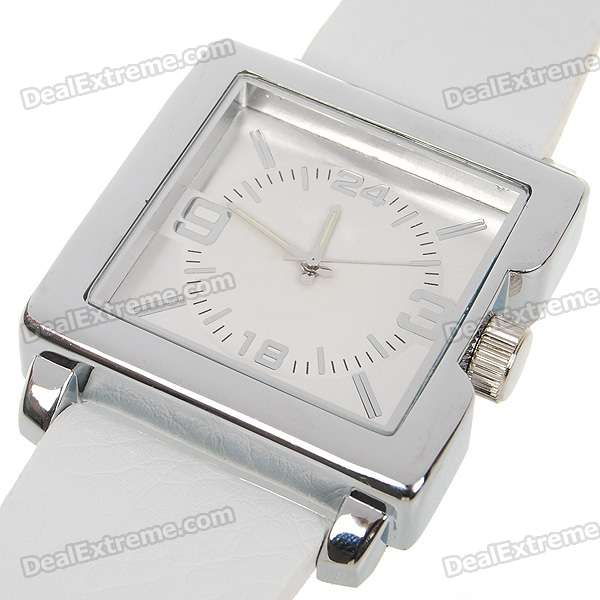 Stylish PU Leather Band Quartz Wrist Watch - White + Silver (1*377)