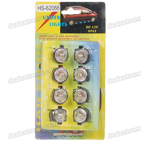 Car 8-LED Underbody Colorful Decorative Light (DC 12V)