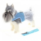Pet Puppy Dog Mesh Vest Dress Clothes + Harness Leash Band - Blue (L)