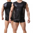 European Style Super Sexy Charming Patent Leather Sleeveless Round Neck Vest and Shorts for Men