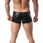 Men's Hooded Sleeveless Vest Sexy Leather Underwear Set - Black (L)