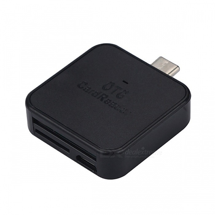 Cwxuan ABS USB 3.1 Type-C TF / SD Card Reader Adapter - Black