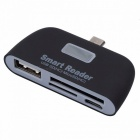 BSTUO 4-in-1 Smart Card Reader OTG w/ Micro USB/ TF/ SD/ USB2.0- Black