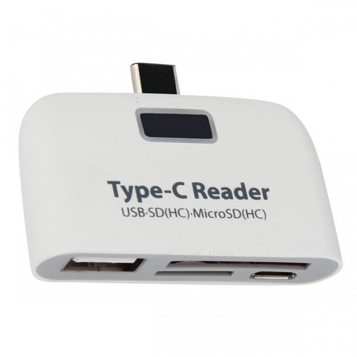 BSTUO USB3.1 Type-C 3-in-1 Card Reader Adapter w/ USB/ SD/ TF - White