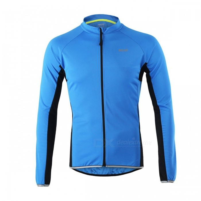 Arsuxeo Outdoor Sports Long Sleeve Mens Cycling Jersey - Blue (L)Form  ColorBlueSizeLModel6022Quantity1 DX.PCM.Model.AttributeModel.UnitMaterialPolyesterGenderMensSeasonsSpring and SummerShoulder WidthNo DX.PCM.Model.AttributeModel.UnitChest Girth98 DX.PCM.Model.AttributeModel.UnitSleeve Length79 DX.PCM.Model.AttributeModel.UnitTotal Length59/71 DX.PCM.Model.AttributeModel.UnitWaistNo DX.PCM.Model.AttributeModel.UnitTotal LengthNo DX.PCM.Model.AttributeModel.UnitSuitable for Height160~175 DX.PCM.Model.AttributeModel.UnitBest UseCycling,Mountain Cycling,Recreational Cycling,Road Cycling,Bike commuting &amp; touringSuitable forAdultsTypeLong JerseysOther FeaturesBreathable / Quick Dry / Anatomic Design / WickingPacking List1 x Jersey<br>