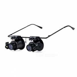 BIJIA 20X Binocular Magnifying Glasses w/ 2 LED Lights - Black
