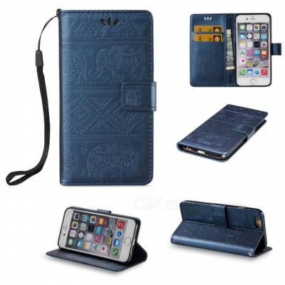 BLCR Elephant Pattern PU + TPU Wallet Case for IPHONE 6 / 6S - Blue