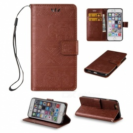 BLCR Elephant Pattern PU + TPU Wallet Case for IPHONE 6 / 6S - Brown