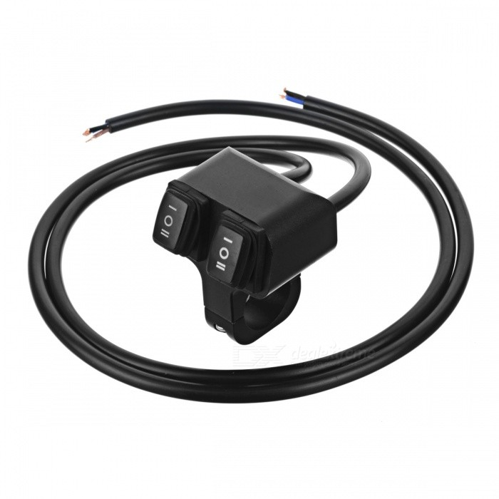 Eastor DC 12V/16A 2-Way 2-Mode Gear Wired Motorcycle Switch - Black