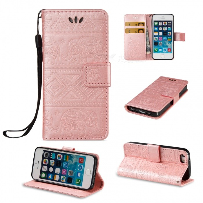 BLCR Elephant Pattern PU + TPU pouzdro pro iPhone SE / 5S / 5 - Rose Golden