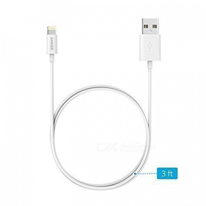anker apple mfi certified premium lightning to usb cable - white  3ft  - free shipping