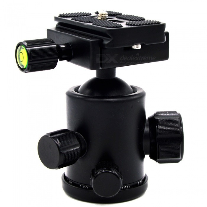 VELEDGE Panoramic Tripod Ball Head w/ 2 Built-in Spirits - BlackOther Accessories<br>Form ColorBlackMaterialAluminum alloyQuantity1 pieceCompatible BrandGeneralCompatible ModelGeneralPacking List1 x VELEDGE ball head<br>