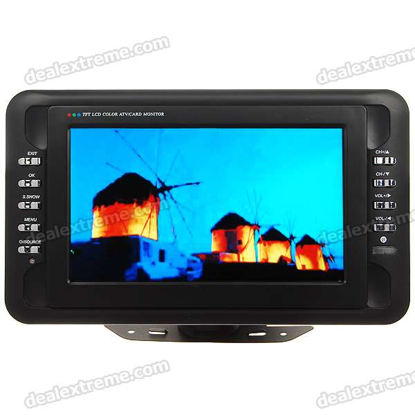 "Portable 7"" Wide Screen LCD TV Monitor with AV Input + SD/MMC Slot (PAL/NTSC/1440*468px)"
