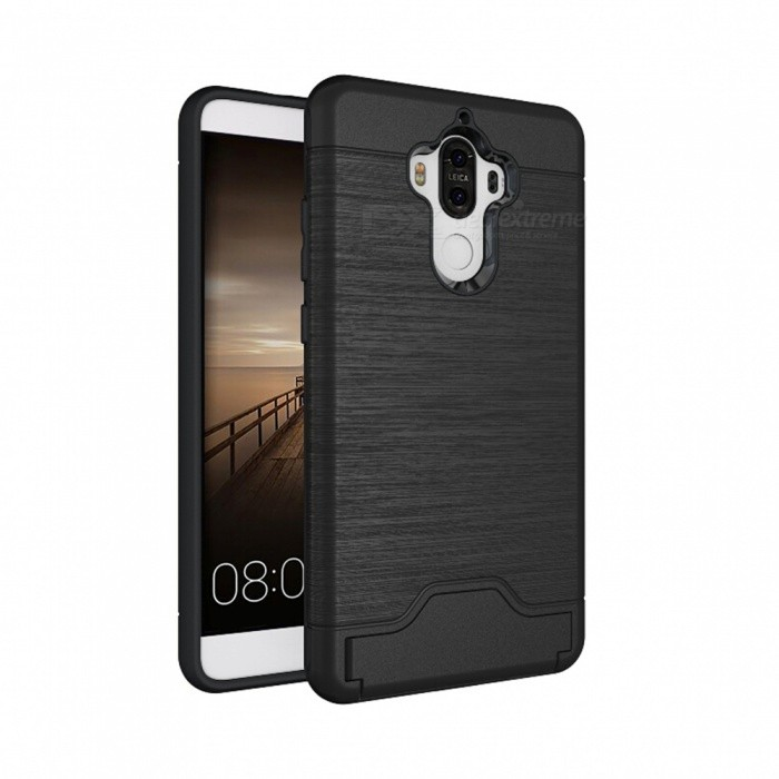 Protective Back Case w/ Card Slots for Huawei Mate 9 - Black