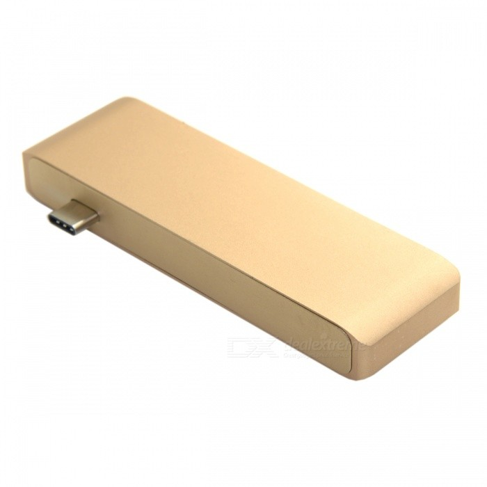 CY UC-008 USB 3.1 Type-C to Multiple USB 3.0 2-Port Hub - Golden