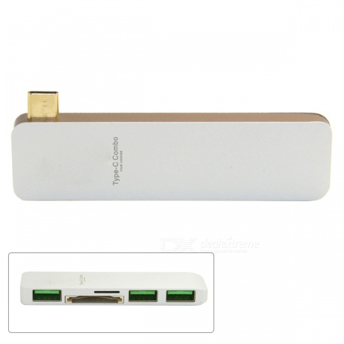 CY UC-009 USB 3.1 Type-C to Multiple 3-Port 3.0 Hub - White + Golden