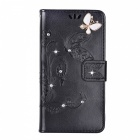 BLCR papillon bijoux Encrusted PU TPU Wallet Case pour IPHONE 7 - noir