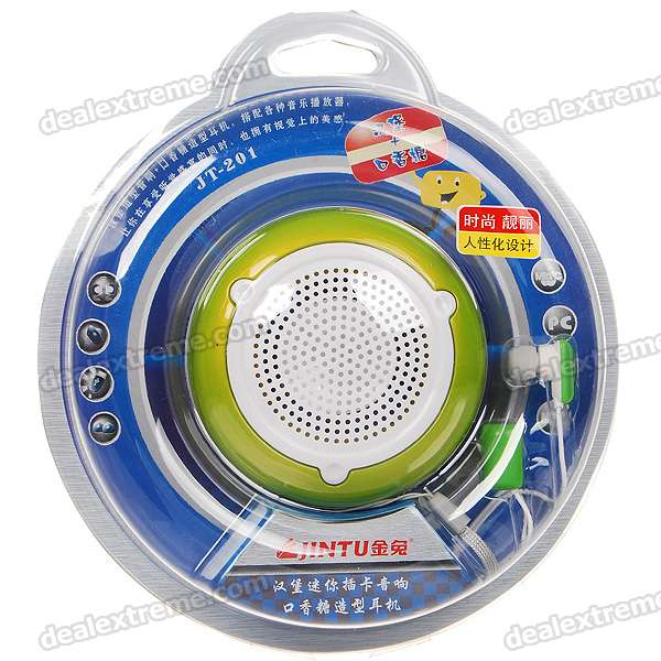Hamburger Style USB Rechargeable Speaker w/ TF Slot + Chewing Gum Style Earphone - Green + White