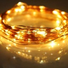 JIAWEN 100 LEDs Copper Wire Warm White Light Solar String Lights (10m)