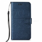 BLCR Elephant Pattern PU Wallet Case for Samsung Galaxy S7 Edge - Blue