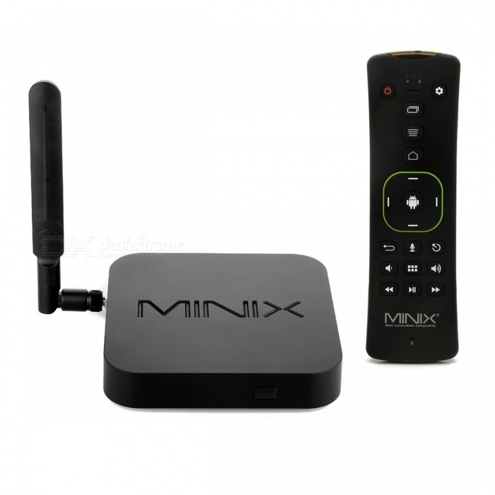 MINIX NEO U9-H Octa-core Android 6.0.1 Google TV Box+A3 Air MouseSmart TV Players<br>Form ColorBlackBuilt-in Memory / RAM2GBStorage16GBPower AdapterEU PlugModelNEO U9-HQuantity1 setMaterialPlasticShade Of ColorBlackOperating SystemAndroid 6.0ChipsetAmlogic S912-HCPUOthers,Octa Core Cortex A53 Processor (64-bit) Amlogic S912-HProcessor FrequencyMax 2GHzGPUMali-820MP3 GPUMenu LanguageEnglish,French,German,Italian,Spanish,Portuguese,Russian,Japanese,Korean,Chinese Simplified,Chinese TraditionalRAM/Memory TypeDDR3 SDRAMMax Extended Capacity64GBSupports Card TypeMicroSD (TF)External HDD2TBWi-Fi2*2 MIMO 802.11 AC Dual-band Wi-FiBluetooth VersionOthers,V4.13G FunctionNoWireless Keyboard/Mouse2.4GHz / 5.8GHzAudio FormatsMP3,WMA,APE,FLAC,OGG,AC3,DTS,AACVideo FormatsRM,RMVB,AVI,DIVX,MKV,MOV,HDMOV,MP4,M4V,PMP,AVC,FLV,VOB,MPG,DAT,MPEG,H.264,MPEG1,MPEG2,MPEG4,WMV,TP,CD,VCD,DVD,BD,H.265Audio CodecsDTS,AC3,LPCM,FLAC,HE-AACVideo CodecsMPEG-1,MPEG-2,MPEG-4,H.264,VC-1,H.265Picture FormatsJPEG,BMP,PNG,GIF,TIFF,jps(3D),mpo(3D)Subtitle FormatsMicroDVD [.sub],SubRip [.srt],Sub Station Alpha [.ssa],Sami [.smi]idx+subPGSOutput Resolution4KHDMI2.0Audio OutputHDMI, Optical audio, 3.5mm jackVideo OutputHDMI2.0,up to 4K@60Hz,Support HDMI-CEC,HDRUSBUSB 2.0,Micro USBOther Interface1 x Microphone  jack / 1  x Headphone  jack / 1 x TF card slot / 1 x OTG port / 3 x USB 2.0 / 1 x LAN / 1 x DC jack / 1 x Kensington lock / 1 x HDMI / 1 x IR Receiver / 1 x Optical SPDIFPower Supply100~240VAPP Built-inXBMCCompatible ApplicationFacebook,Youtube,Skype,Netflix,XBMC,HuluFirmware Upgradewww.minix.com.hkCertificationCE / FCC / RoHSPacking List1 x Google TV player1 x OTG cable (23cm) 1 x 100~240V power adapter (180cm-cable) 1 x Micro USB cable (100cm) 1 x HDMI cable (102cm) 1 x Remote controller (Powered by 2 x AAA batteries, not included)1 x English user manual 1 x Antenna 1 x A3 air mouse1 x USB receiver 1 x English user manual<br>