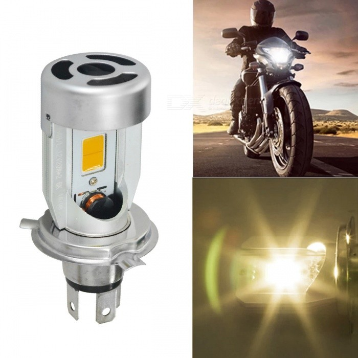 Jiawen 20W 2000lm H4 Plug LED Motorcycle Headlight Bulb (DC 6~60V)Motorcycle Lighting<br>Form  ColorSilverColor BINYellowModelN/AQuantity1 pieceMaterialAluminumMakeAllCompatible Car ModelMotorcycleEmitter TypeCOBTotal Emitters2Chip BrandEpistarPower20 WRate Voltage6~60VColor Temperature3000~3200 KLife Span50000 hoursTheoretical Lumens2000 lumensActual Lumens2000 lumensConnector TypeH4Input VoltageDC 6~60 VRated Working Voltage12 VApplicationHeadlampWater-proofNoPacking List1 x Led Motorcycle Headlight<br>