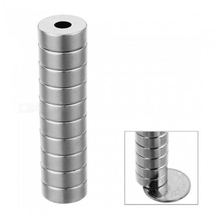 JEDX D15*5-4mm Round NdFeB Magnet Cubes w/ Round Hole (10PCS) - SilverMagnets Gadgets<br>Form  ColorSilverQuantity10 DX.PCM.Model.AttributeModel.UnitNumber10MaterialNdFeBSuitable Age 12-15 years,Grown upsPacking List10 x Magnets<br>