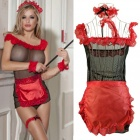 Sexy Perspective Net Yarn Maid Uniforms Charm Temptation Suit - Red