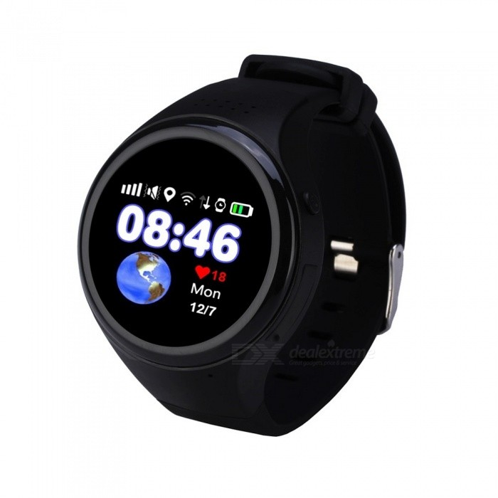 "1.22"" Touch Screen GPS Tracking Watch Phone, SOS Watch - Black"