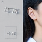 Creative spelling english alphabet m stud earring for women - silver