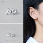 Creative spelling english alphabet p stud earring for women - silver