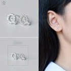 Creative spelling english alphabet q stud earring for women - silver