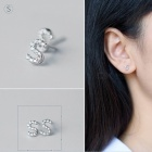 Creative spelling english alphabet s stud earring for women - silver